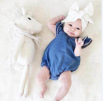 Harga Super Fashion Baby Girl Denim Stylish Dress Jumpsuit Cute RomperTriangle Pants