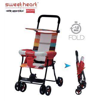 Harga Sweet Heart Paris BG203 (Red) One Second Folding Portable BabyBuggy Stroller