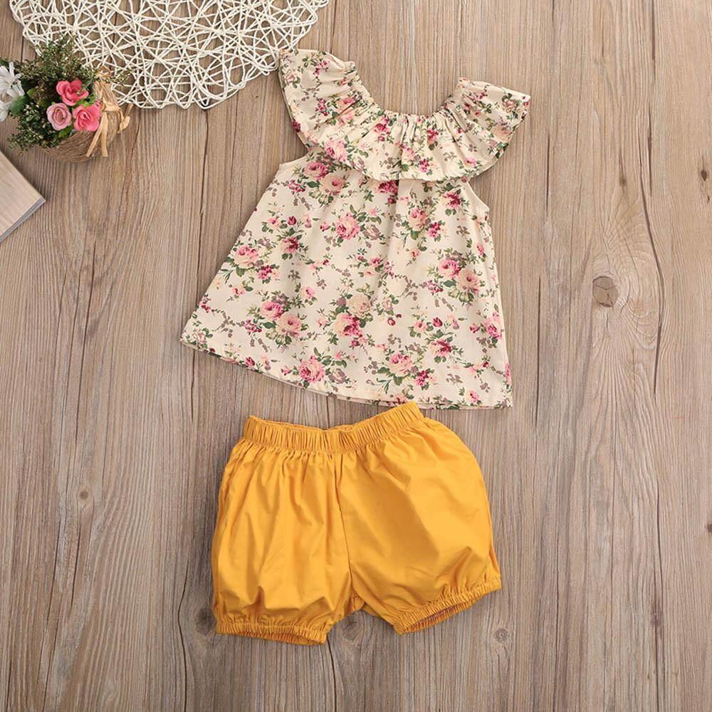 Anak Perempuan Balita Bunga Baju Atasan Tanpa Lengan + Dasi Pakaian Celana Pendek Pakaian Set-