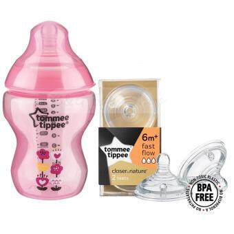 Harga Tommee Tippee Closer To Nature Tinted PP Bottle 260m/9oz - Pink+Tommee Tippee Closer to Nature Teat Fast Flow (6m+)