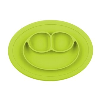 Useful Kids One Piece Silicone Placemat Plate Dish Food Tray TableMat for Baby Toddler Green