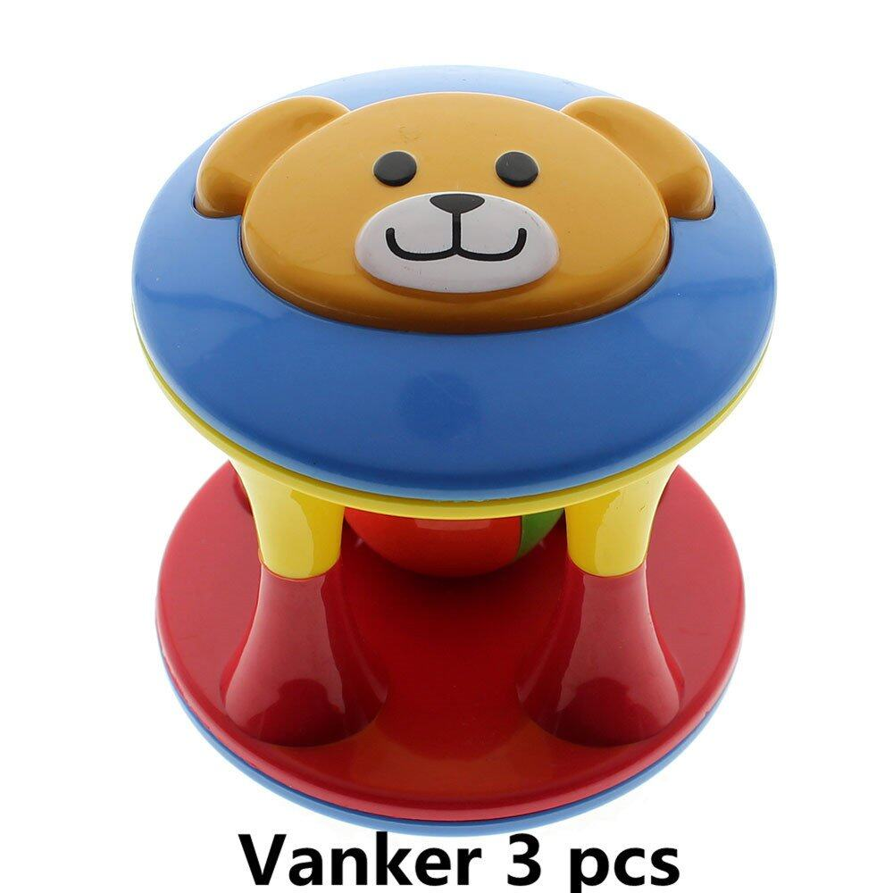 Vanker 3x Baby Toddlers Fun Bear Head Jingle Rattle Rolling Ball Ring Bell Grasp Hand Toy - intl
