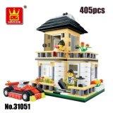 WANGE 31051 City Inn Series Building Blocks: Cream Colored Villa House & Car [Gift]