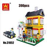 WANGE 31052 City Inn Series Building Blocks: Yellow Villa House & Car [Present/Gift]