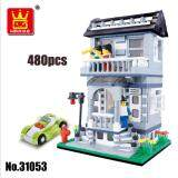 WANGE 31053 City Inn Series Building Blocks: Grey Villa House & Car [Best Present]
