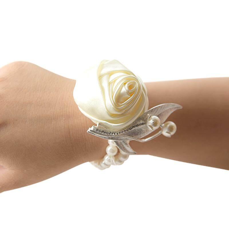 Pernikahan Pengantin Pengiring Pengantin Pergelangan Tangan Bunga Mutiara Gelang Busa Tangan Bunga Corsage-Internasional
