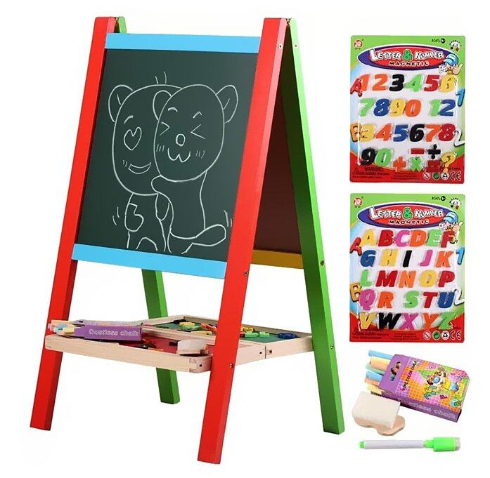 Wooden 2-in-1 Black Board & White Board Easel Set