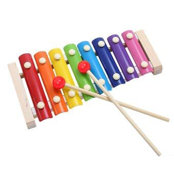 Harga Wooden 8 Key Notes Xylophone Toys Hand Knock Piano Music Instrumentfor 1-10 Years Old Kids