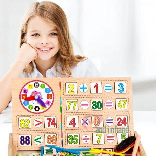 Wooden Counting Math Game Mathematics Kids Toys