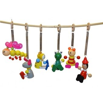 Wooden hanging spring toys set of 6 decoration kid for Hanging toy net