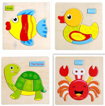 Wooden jigsaw puzzle early childhood dimensional simple wooden toys