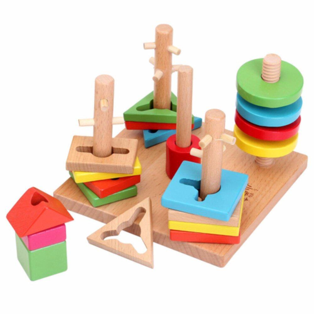 Wooden Shapes Colors Early Development Educational Toys