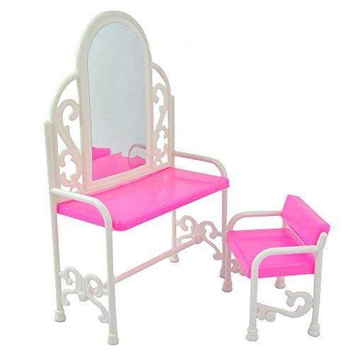 Yiding Modis Dressing Meja dan Kursi Set untuk Boneka Barbie Bedroom Furniture-Internasional