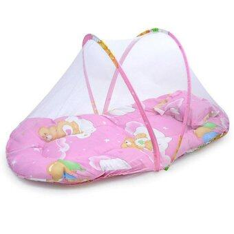 Yika Small Infant Baby Mosquito Insect Net Tent Mattress Cradle BedCanopy Cushion Pillow Set S (Pink)