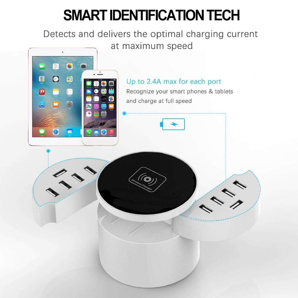 10 USB Ports WIRELESS Charger Charging Station Adapter With Smart Technology