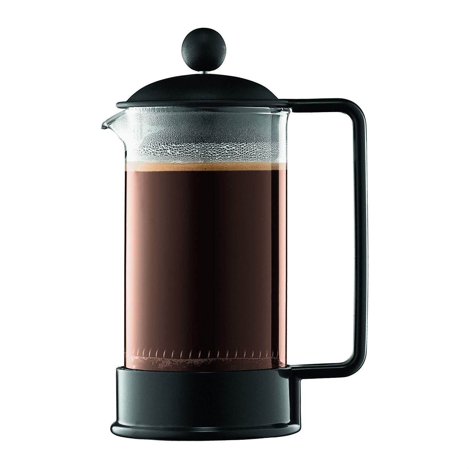 Bodum 1543-01US Brazil French Press Coffee and Tea Maker, 12 Ounce, Black, 3 cup