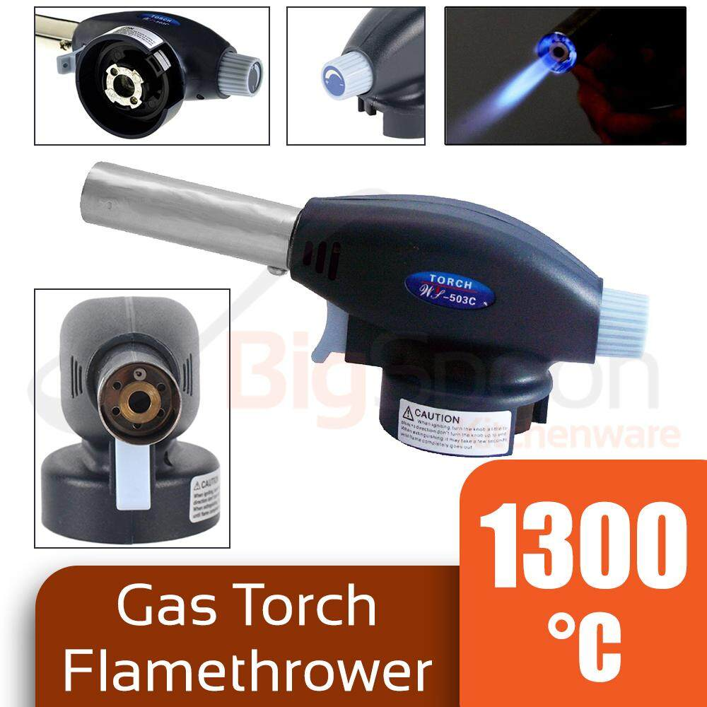 Gas Fire Torch Flamethrower Butane Burner Flame Jet Gun Welding Lighter BBQ Auto Ignition WS-503C
