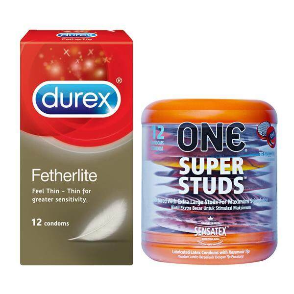 One Super Studs Dotted Condoms 12s + Durex Fetherlite Thin Condoms 12s
