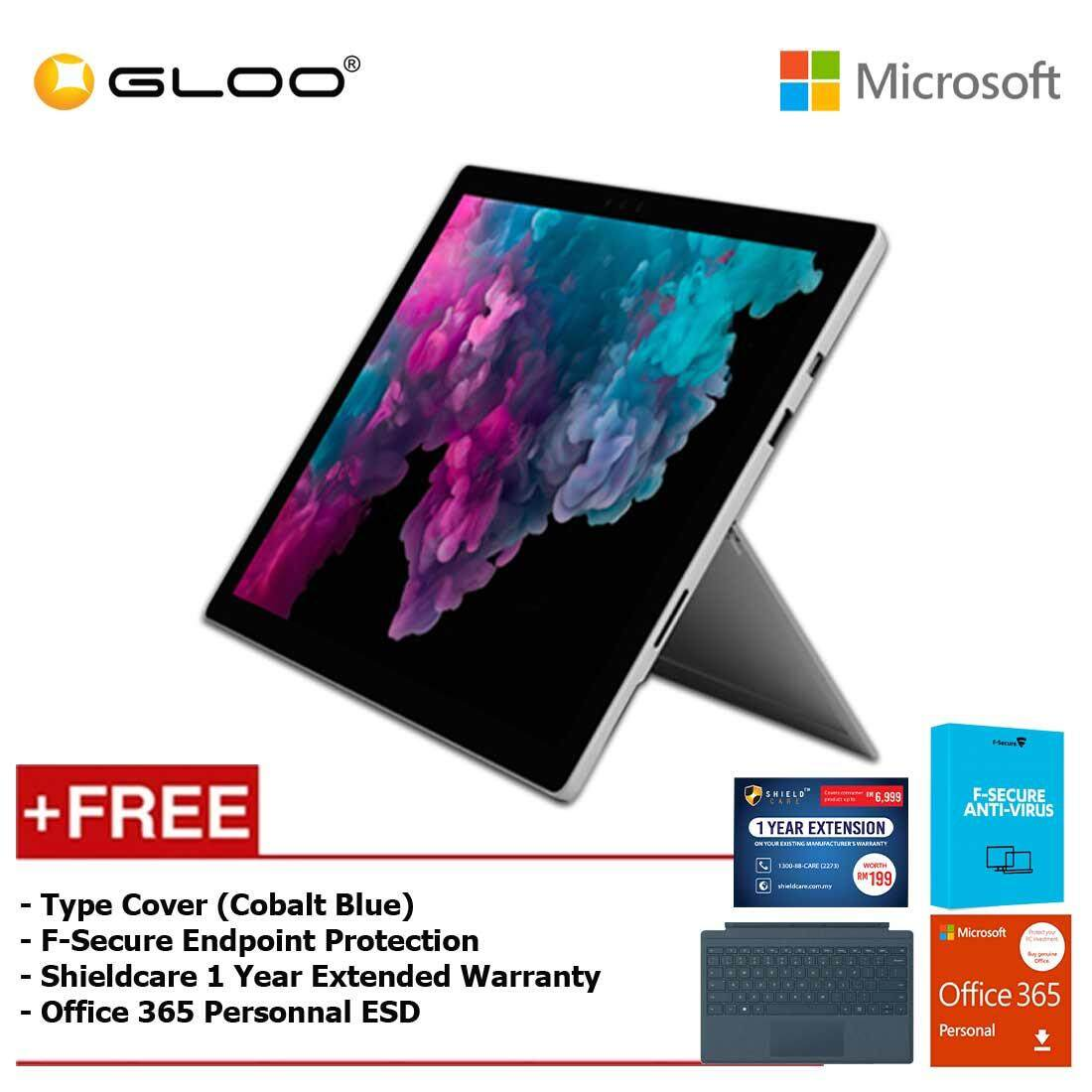 Microsoft Surface Pro 6 Core i5/8GB RAM -128GB + Type Cover Cobalt Blue + Office 365 Personal (ESD) + F-Secure Endpoint Protection + Shieldcare 1 Year Extended Warranty