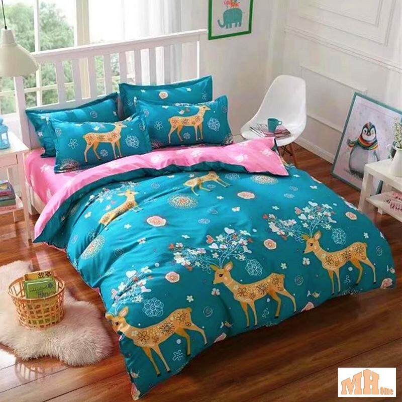 Maylee High Quality 2pcs Colourful Deer Single Fitted Bedding Set