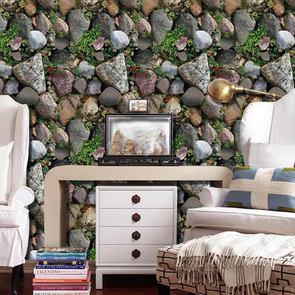 Laputa 3D Batu Wallpaper Rumput TV Latar Belakang Stiker Ruang Keluarga Dekorasi Kafe Stiker