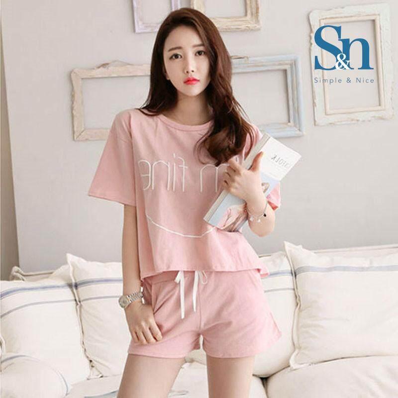 【SIMPLE & NICE】Malaysian Fashion Women I'm Fine Words Design Summer Wear Set (Pink -Size: M-XXL)