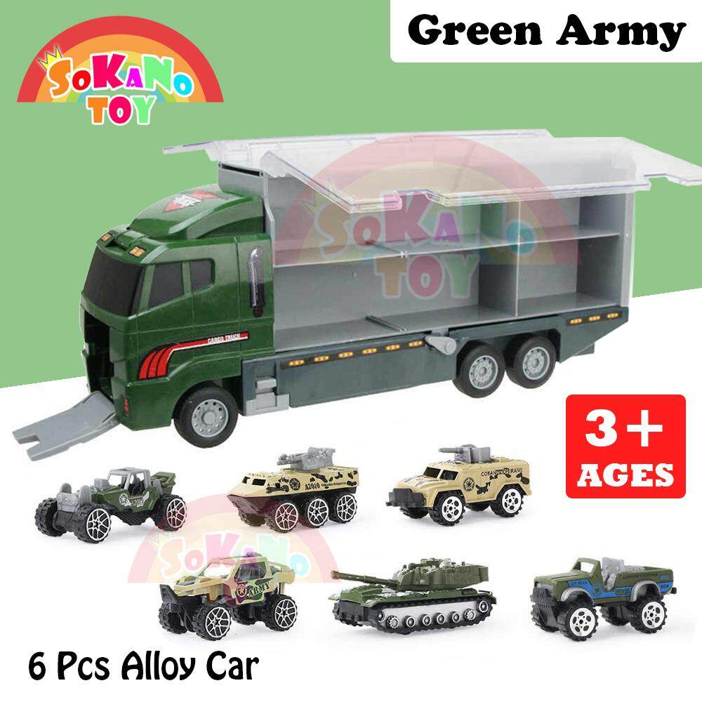 SOKANO TN-1086 Container Cargo Super Truck Double Side Window Design Vehicle Toys Car With 6 Alloy Cars Kereta Mainan