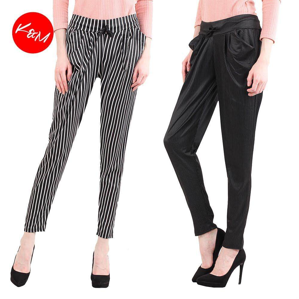 KM Women Striped Drawstring Pants [M13563]