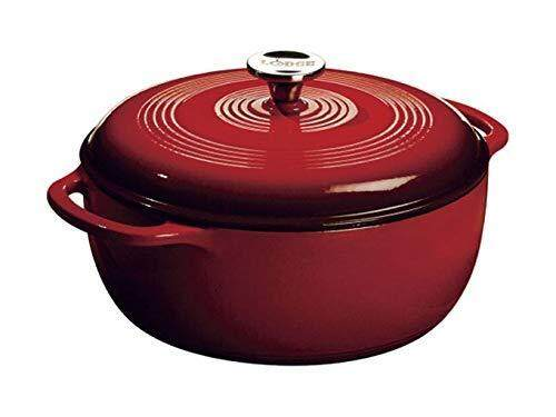 Lodge 6 Quart Enameled Cast Iron Dutch Oven EC6D43, Island Spice Red