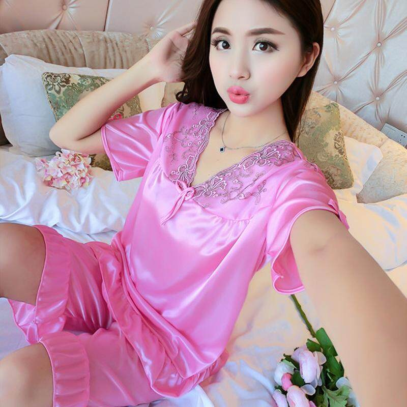 【LIMITED & READY 4 YOU】Perfect Women 2pcs Sexy Pyjamas With Premium Grade Quality Silk (Blue/Lavender/Watermelon Red/Pink - Free Size)
