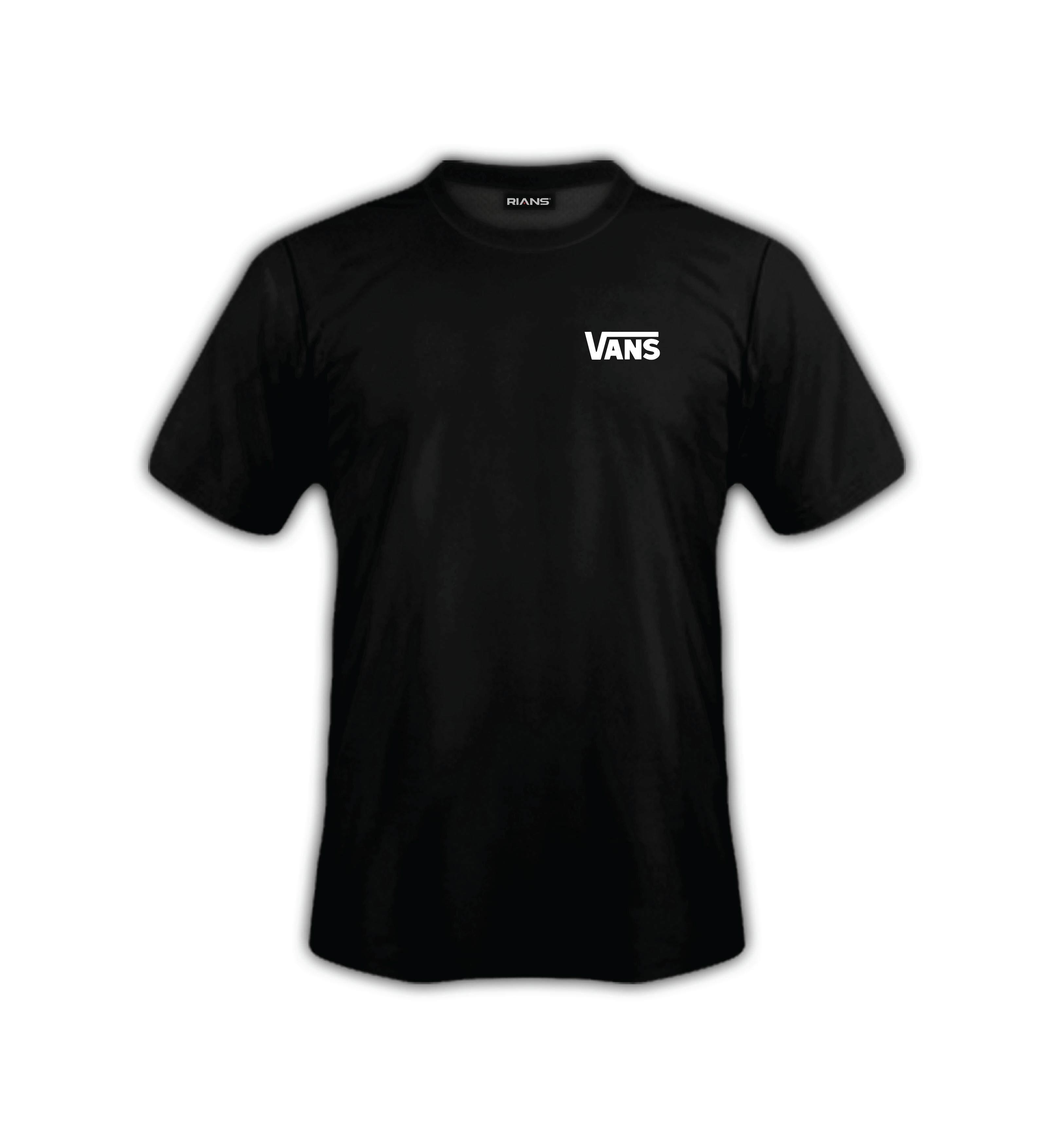 T-Shirt VANS Left 100% Cotton Baju Tshirt Black White Hitam Putih Bossku