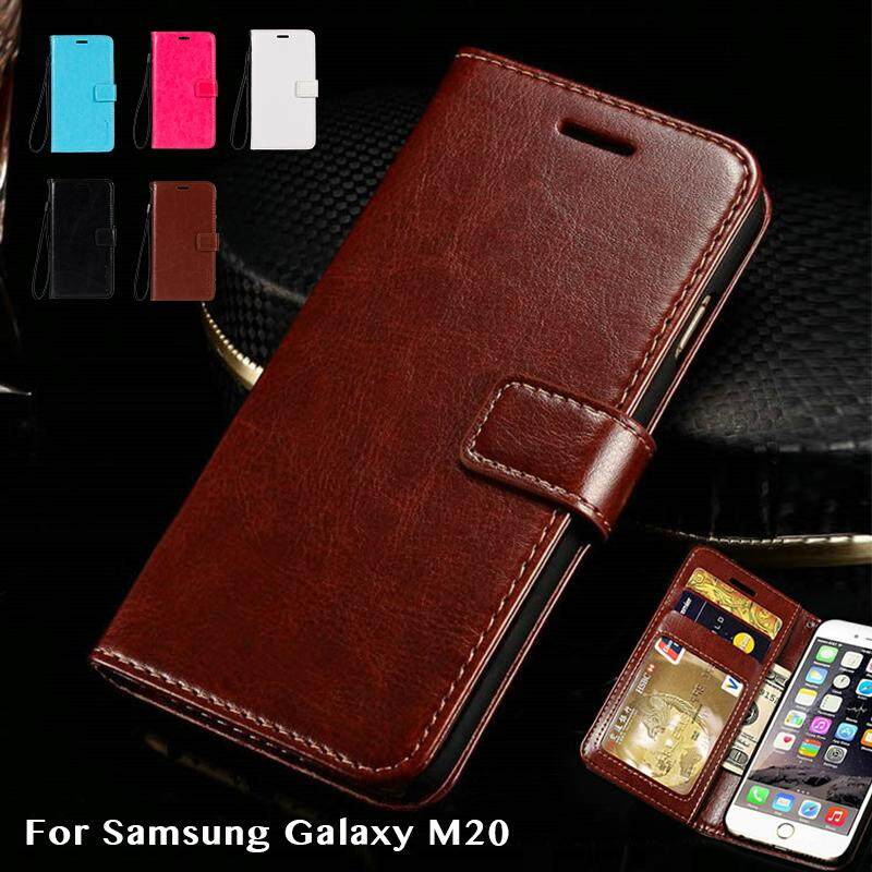 PU Dompet Kulit Case untuk Samsung Galaxy M20 Wadah Telepon Bisnis untuk Samsung Galaxy M20 Buku