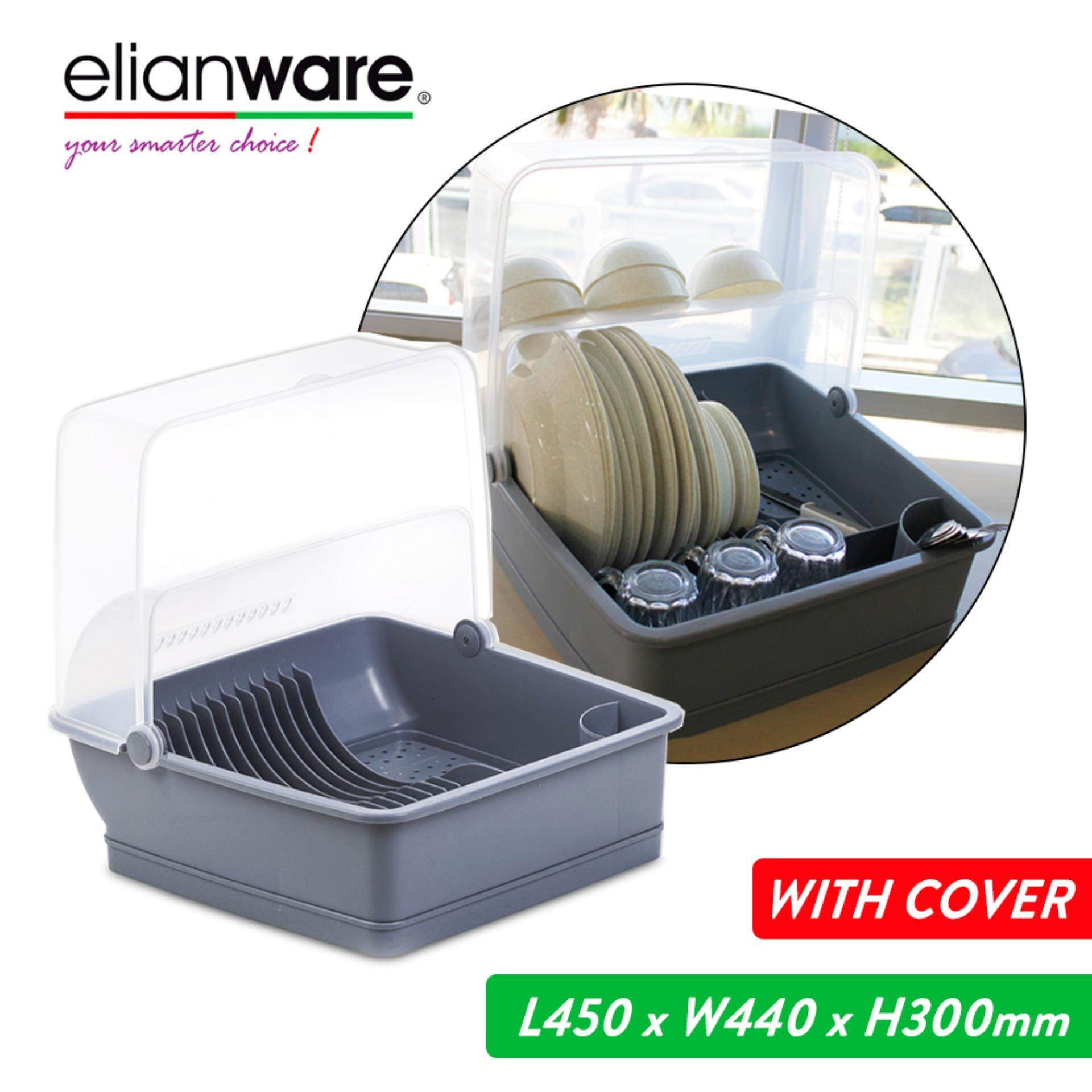 Elianware Extra Large Dust Free Home Dish Rack Disk Drainer with Cover Rak Pinggan