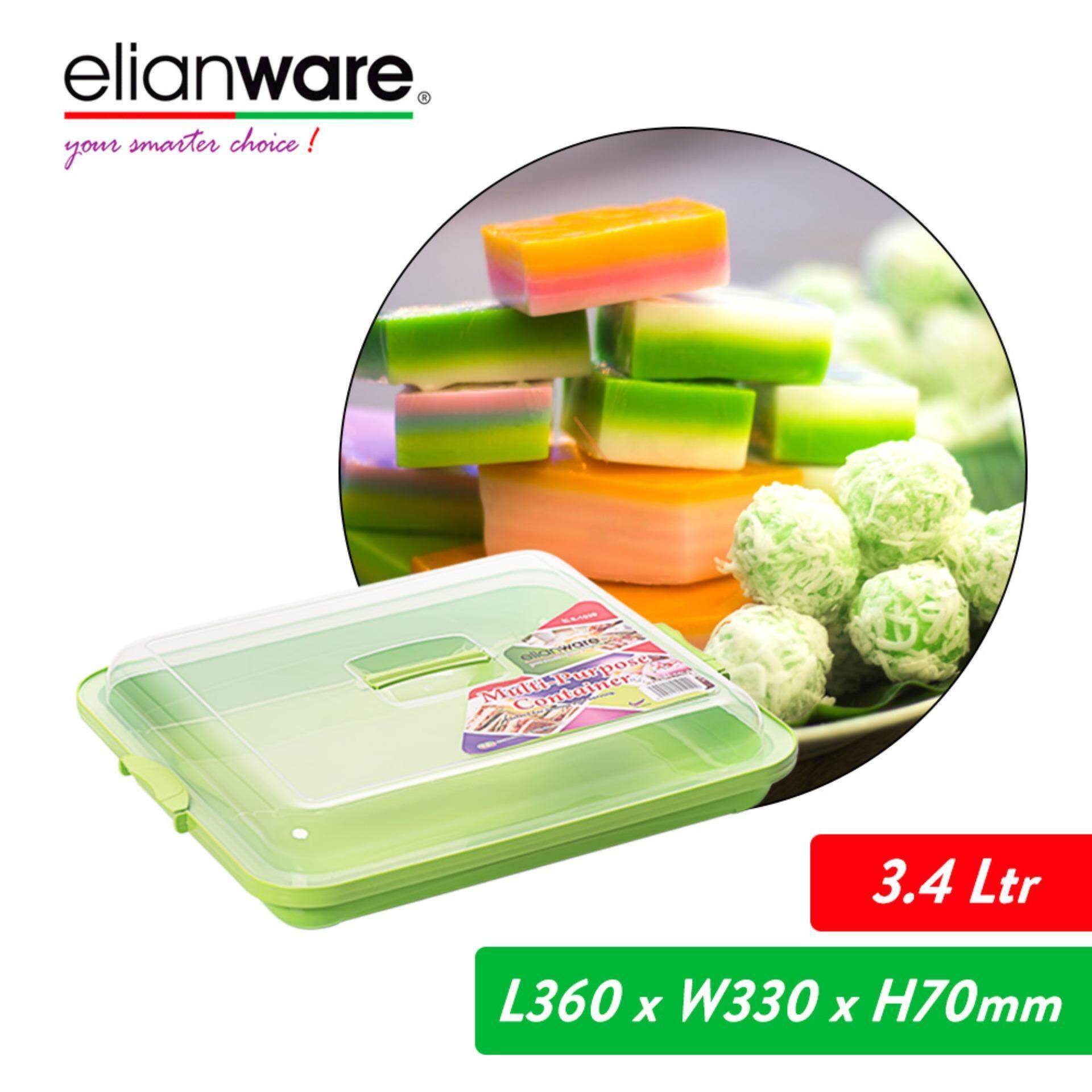 Elianware 3.4 Ltr BPA Free Kuih Muih Serving Tray Dulang with Cover Bekas Kuih Raya