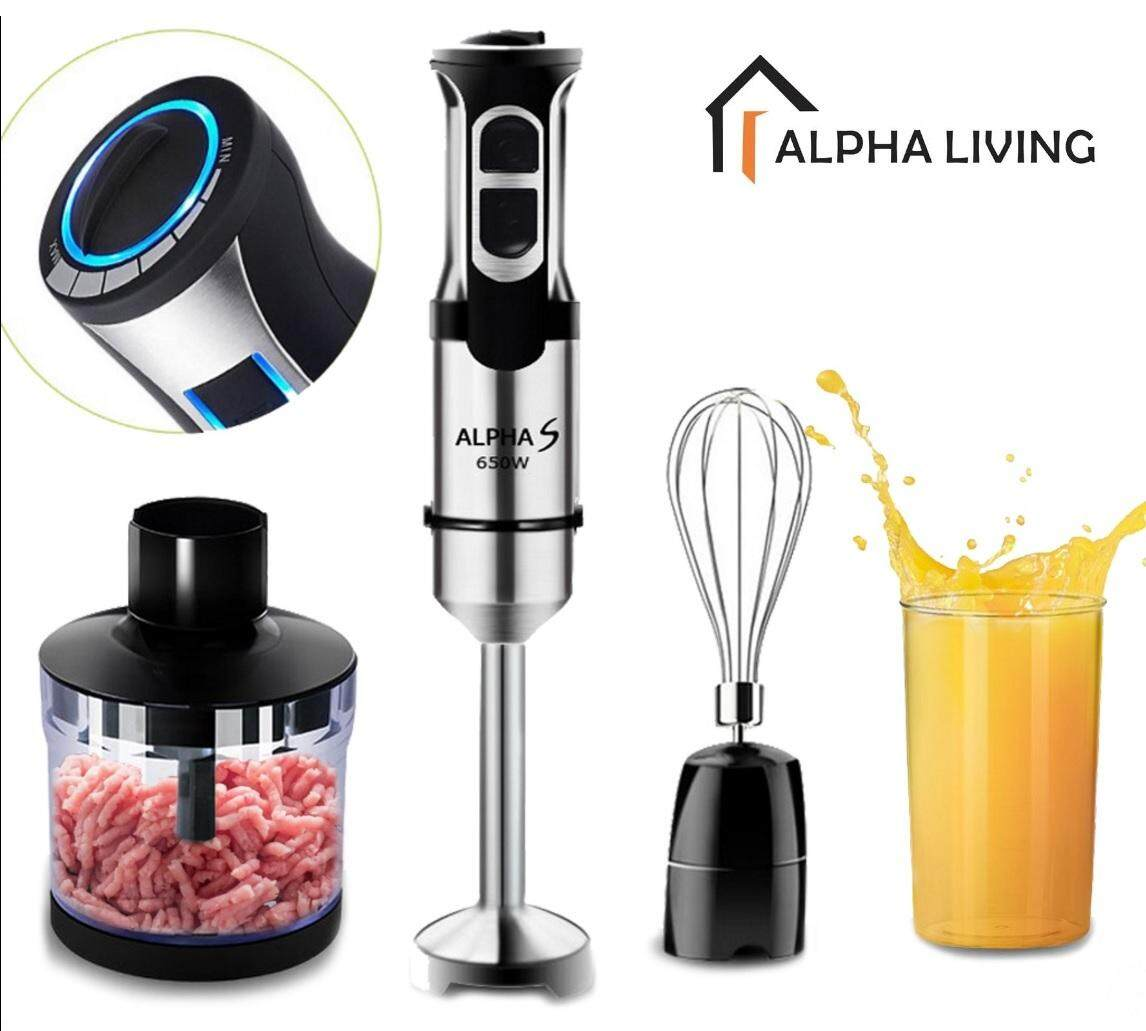 Alpha S KEA0084 Hand Held Multifunction Food Processor Turbo Blender Set for Ice Smoothie Juice Whisk Mince with Speed Adjustment 650W UK 3 Pin Plug