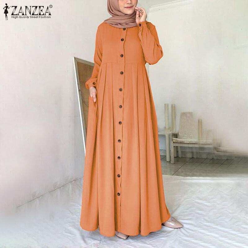MOMONACO ZANZEA Muslimahผู้หญิงมุสลิมAbayaดูไบปุ่มเสื้อคลุมแขนยาวเสื้อแม๊กซี่เชิ้ต