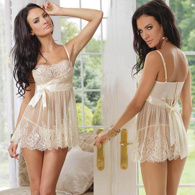 Bolster Store Women Sexy Lingerie Lace 2 Pieces Dress + G-String Sleepwear Nightwear