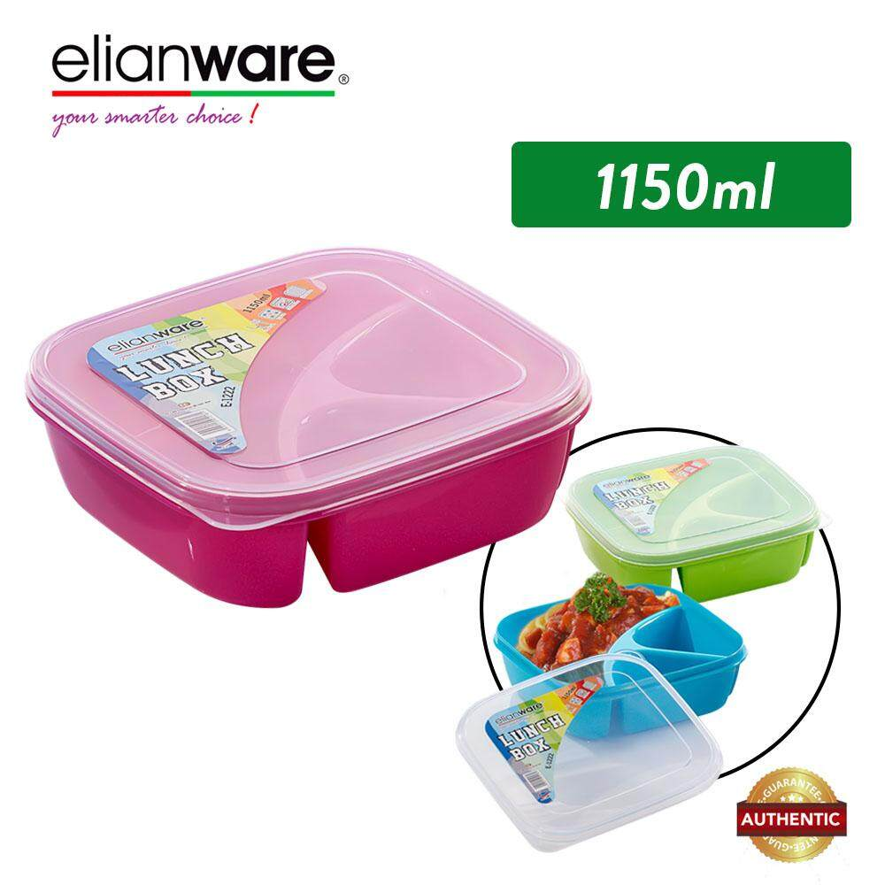 Elianware 1.15L 3 Compartment Divided Lunch Box Food Container Microwavable