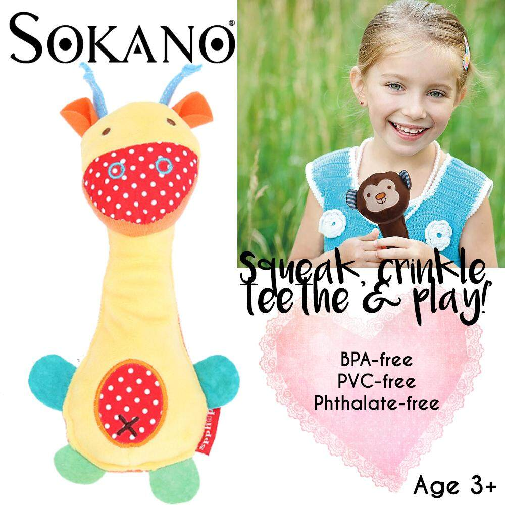 SOKANO TOY Bandana Buddies BB Baby Soft Handle Cartoon Animal Squeaker Bell Shaker Grabbing Early Educational Rattle Toy For Boy Toy For Girl