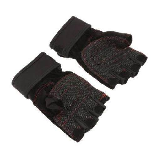 Ventilated Weight Lifting Half-finger Gloves Sports Fitness Tool (BLACK)
