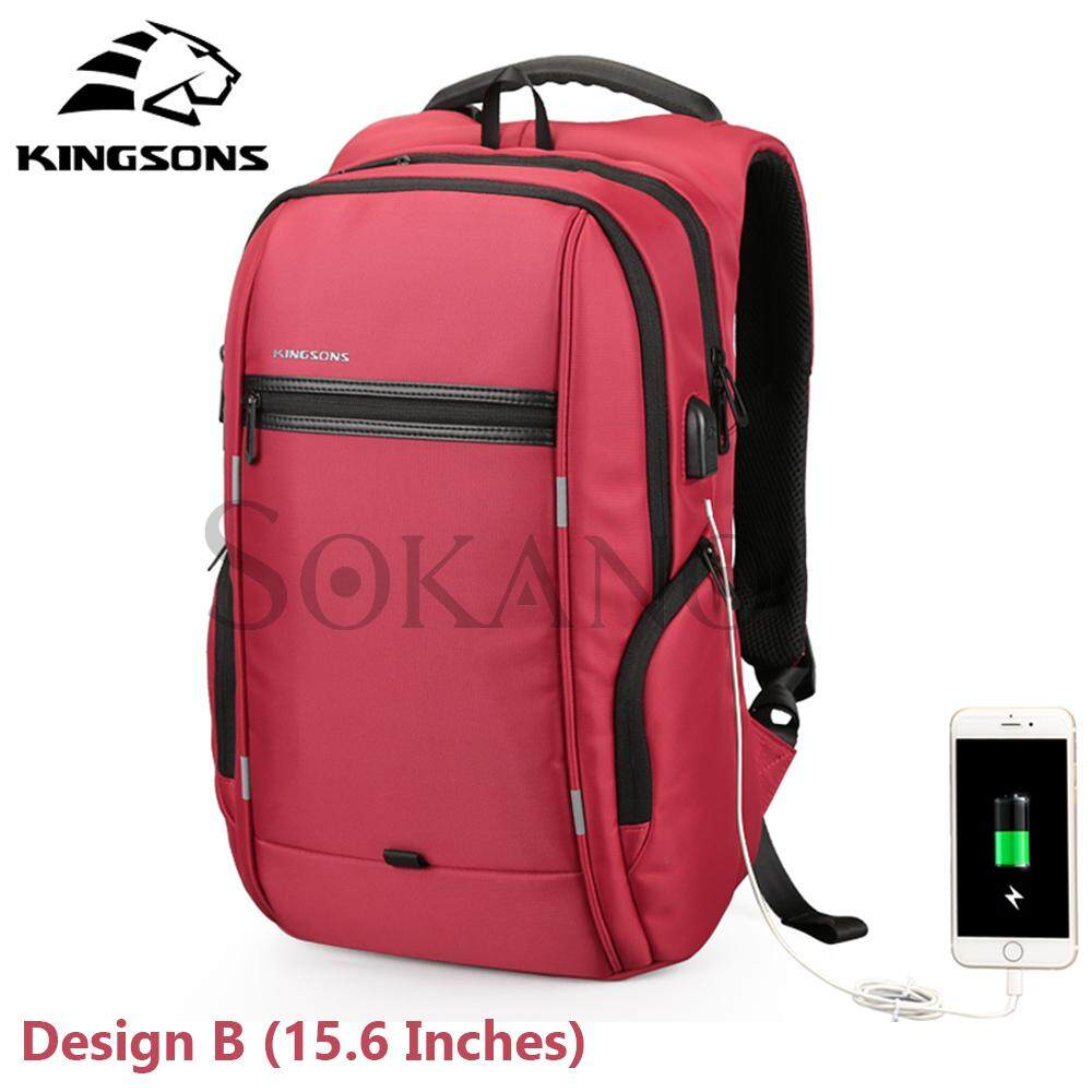 (RAYA 2019) KINGSONS (Design B) KS3144W 15.6 inches City Elite Bag Designer Laptop Backpack Water-Resistant Anti-Theft Laptop Rucksack with USB Charging Port - Red