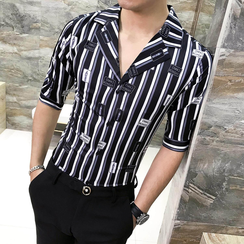 2019 Baru Pria Gaya Inggris Kepribadian Cocok Kemeja Tren Kostum Slim Kemeja Lengan