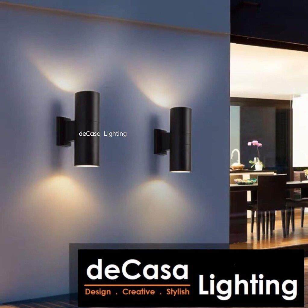 DECASA LIGHTING Outdoor Wall Light UP DOWN LIGHT Modern Effect Wall Light Black (ACC-SZ-2004-BK)