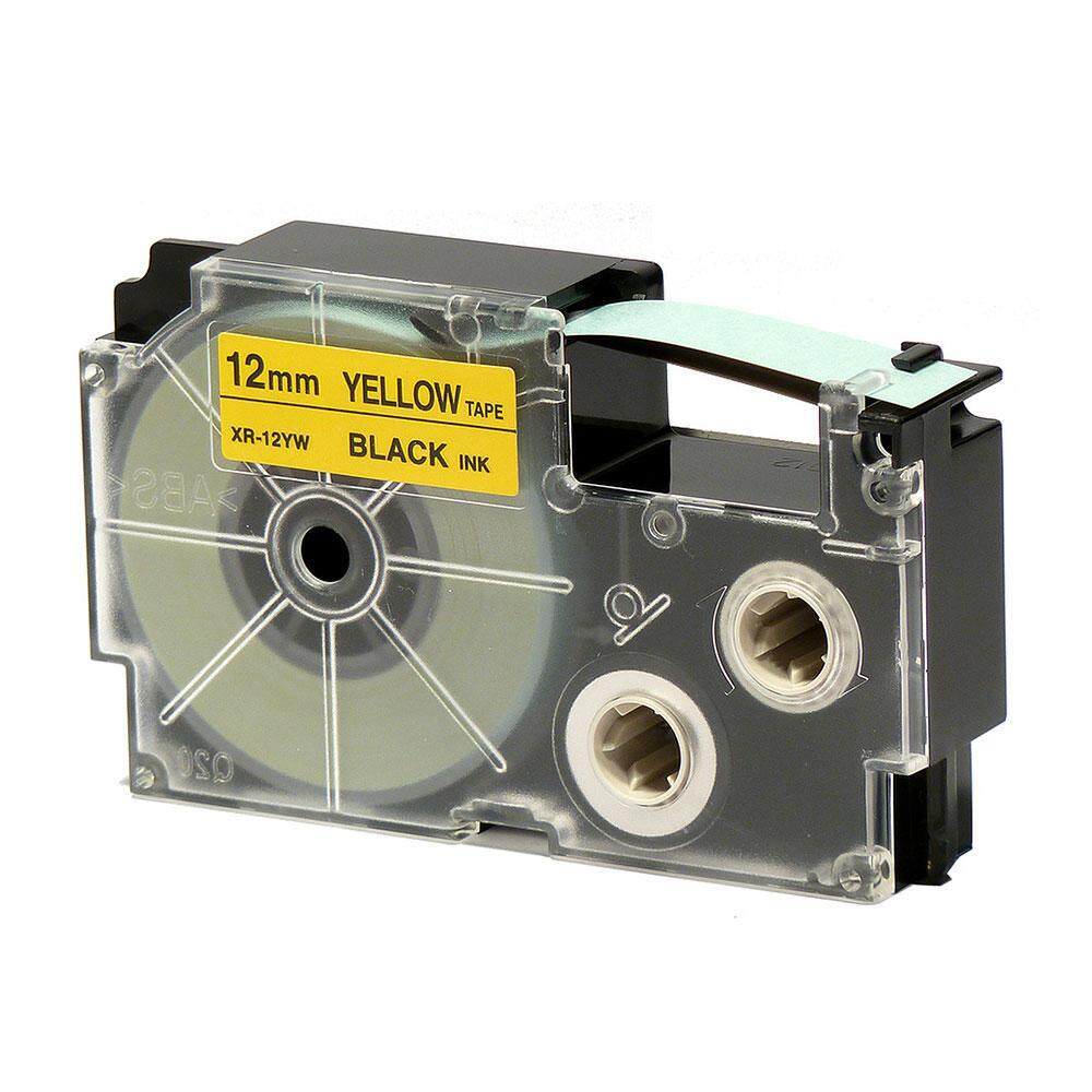 Casio Ez-Label Tape Cartridge - 12mm, Black on Yellow (XR-12YW1)