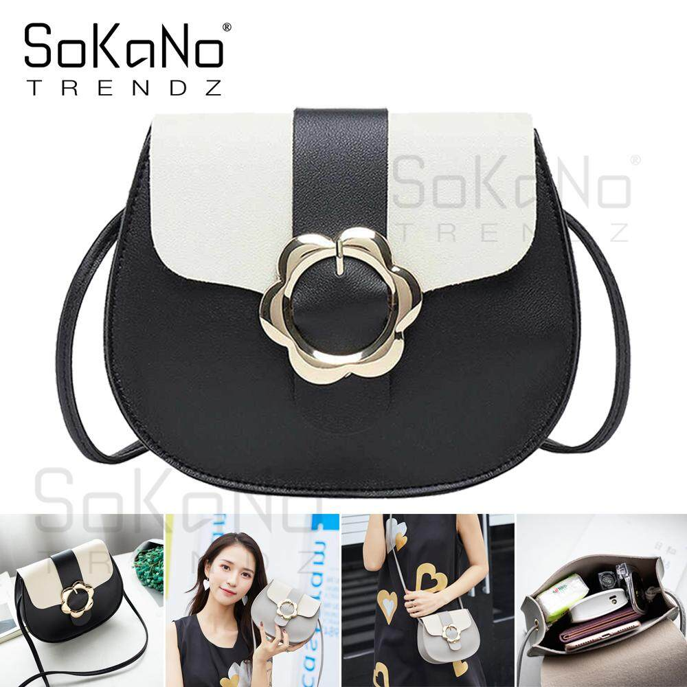 SoKaNo Trendz SKN644 Korean Style PU Leather Sling Bag Crossbody Bag Handbeg Wanita with Flower Buckle
