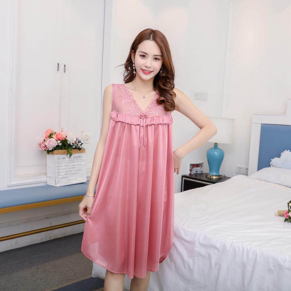 【LIMITED & READY 4 YOU】Impressive Women Sexy V Shape Neck Dress Pyjamas With Premium Grade Quality Silk (Blue/Lavender Purple/Pink/Neutral Red - Free Size)