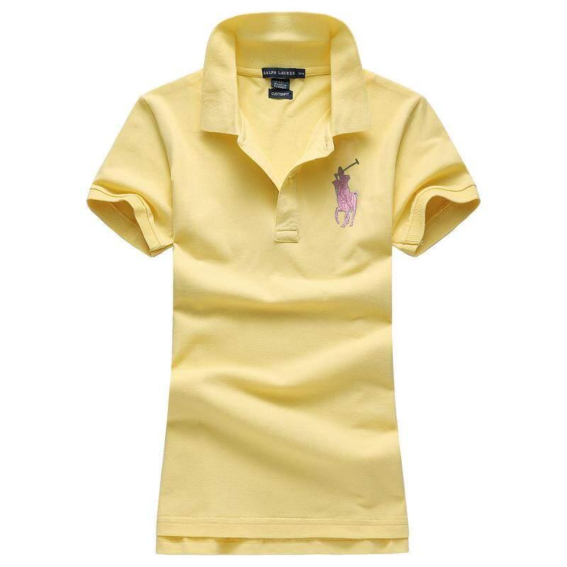 ฤดูร้อน Ralph Lauren Polo เสื้อผู้หญิงเสื้อยืดแขนสั้นเสื้อโปโลผู้หญิงผ้าฝ้ายเสื้อยืดเสื้อโปโลคอสั้นแขนยาว Slim เสื้อยืด Tops HOT SALE
