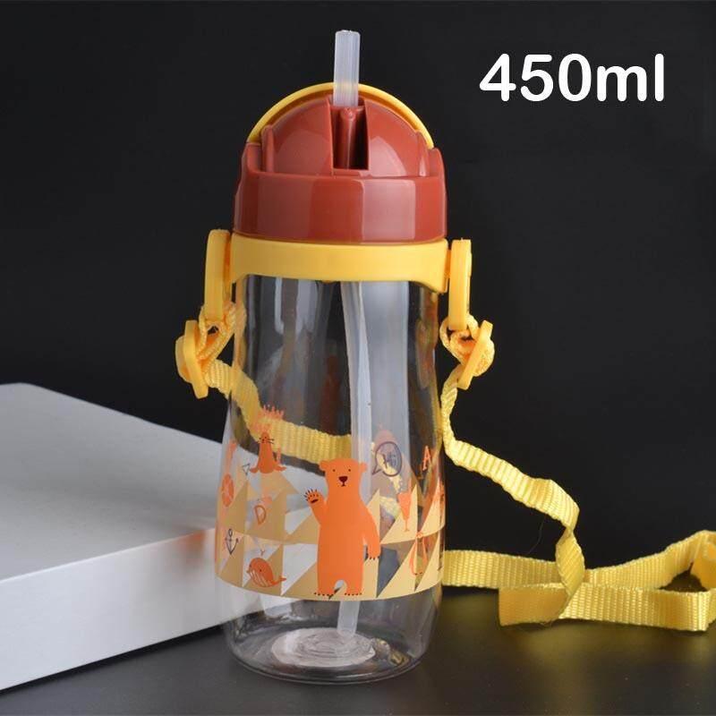 450 ml Sippy Cup Tritan Bánh Ống Hút Nước Chén Ăn KHÔNG CHỨA BPA Cho Trẻ Em Bị Rò Rỉ-poof Trẻ Em học Tập Uống Dây