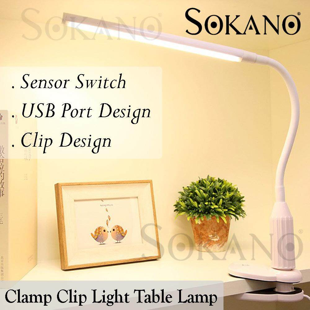SOKANO Premium LED Clamp Type Eye Protection Lamp 5W 24 Eye Protection Clamp Clip Light Table Lamp Stepless Dimmable Bendable USB Powered Touch Sensor Control Brightness Adjustable Flexible Lamp Desk Reading Working Studying Lampu Belajar