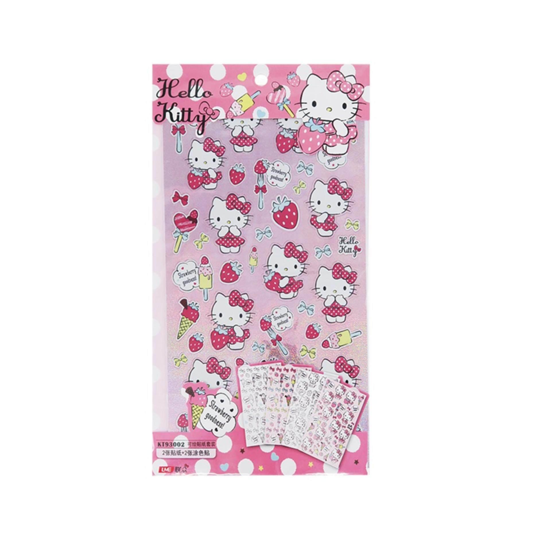 Sanrio Hello Kitty 4pcs Sticker Set - Pink Colour